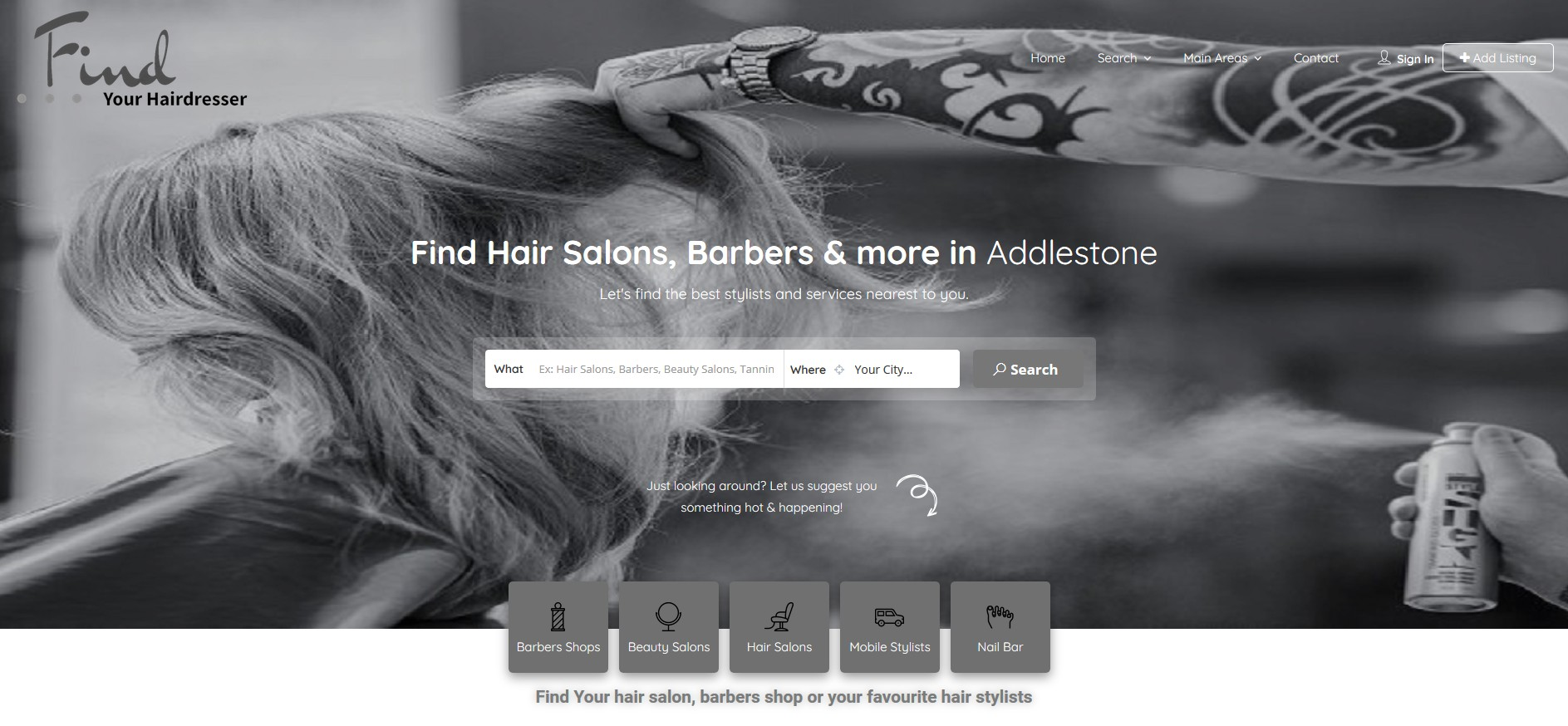 Home page image of listing button
